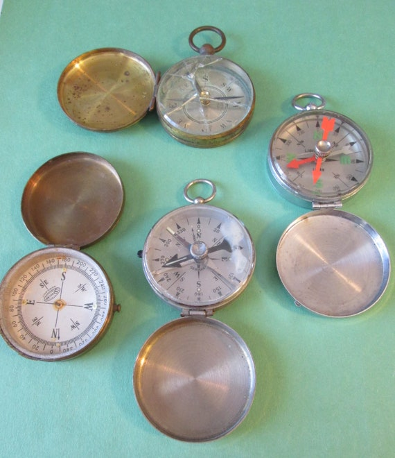 4 Old Assorted Partial Damaged Pocket Compasses for Repair - Parts - Steampunk Art and Etc...