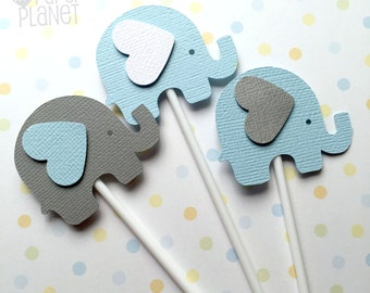Elephant Cupcake Toppers in Blue White & Gray. Baby shower, first birthday, party favors, treats. Baby boy, gender reveal. Cupcake pick.