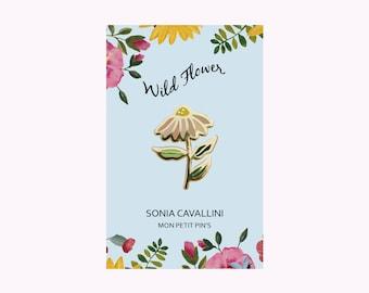Pin's en email doré, fleur, marguerite, métal doré, petit cadeau, anniversaire, pins, pouvoir des fleurs, doré, broche, accessoire
