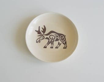 Fathers Day Gift Haida Moose, Ring Holder, Wedding Ceremony, Engagement,  Handmade Dish, Ceramic Dish,  Ring Dish with Haida Moose