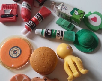 Vintage,  80s, 1980s, eraser, rubbers, gommi, choose colour scheme, red, green, orange, by NewellsJewels on etsy
