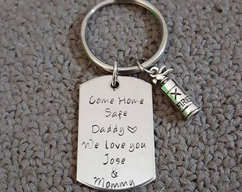 Come Home Safe Key Chain w/ Fire extinguisher, Be Safe Daddy Key Chain, Handstamp, Firefighter Gift, Be Safe Gift