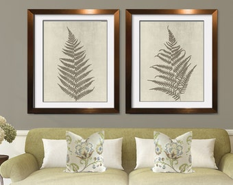 Ferns of Tuscany (Series A2) Set of 2 - Art Prints (Featured in Burnt Olive on Stone Wash) Nature Woodland Inspired
