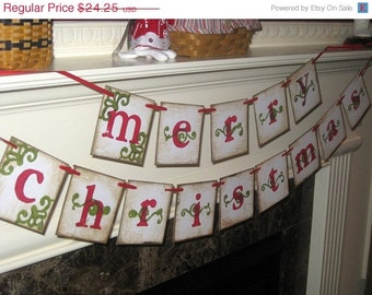 MERRY CHRISTMAS Double Banner Garland Vintage Sign