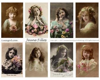 LITTLE GIRLS, digital collage sheet, vintage photos, French postcards Victorian children vintage images, ephemera antique portraits DOWNLOAD