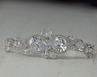 Crystal Bracelet, White Gold Bridal Bracelet, Wedding Bracelet,  Bridal Jewelry, Wedding Jewelry, RIBBON