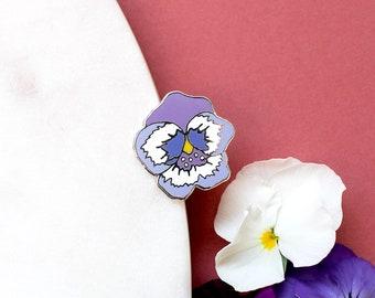Pansy Enamel Pin | Flower Pin | Purple Flower