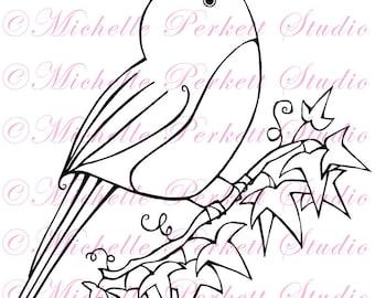 Digital stamp Image instant download downloadable printable Bird Robin Ivy Secret Garden Flowers stamping scrapbooking cardmaking