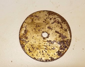 4 inch Circle with 1/2 inch hole Shape Clock Center Metal Rough Rusty Vintage-y Steel Wall Art Ornament Craft Sign Wind Chime