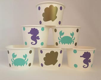 Mermaid Party snack cups, Mermaid Birthday Party Snack Cups, Mermaid Baby shower Snack cups, Under the Sea Party cups