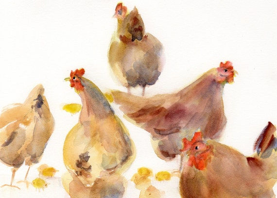 Hens and Chicks - signed watercolor print - Bonnie White - chickens - chicks - farm animals - kitchen art