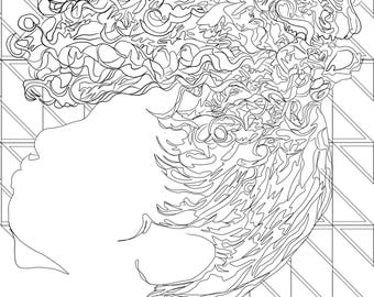 Hair Pineapple Coloring Page