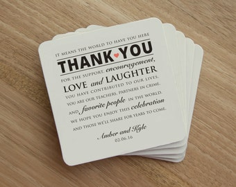 Drink Coaster - Wedding Reception Thank You - Personalized Wedding Thank You - Personalized Wedding Coaster - Wedding Party - Wedding Favor