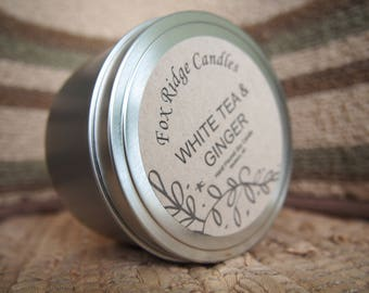 White Tea Ginger Soy Candle Handmade - Fresh - Homemade - Gift for Her - Free Shipping - All Natural - Essential Oils - Citrus Soy Candle