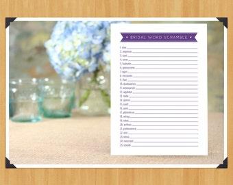 Printable Bridal Shower Word Scramble Game, DIY, Instant Download, Printable PDF, Purple