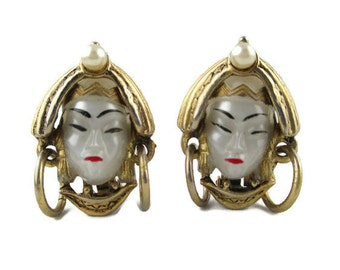 Vintage  Selro Pearly Moonglow Asian Princess Gold Tone Clip Earrings