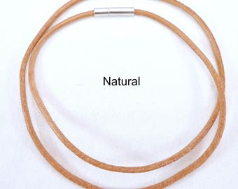 """2mm Leather Cord Necklace - Stainless Steel Bayonet Clasp - Genuine Natural Tan Leather - Easy on/off Clasp - 14"""" 16"""" 18"""" 20"""" 24"""" Length"""