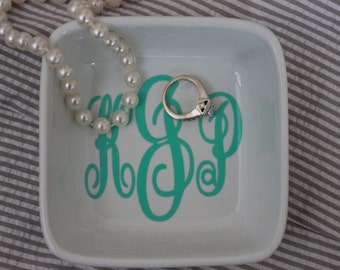 Personalized Monogrammed Ring Jewelry Dish