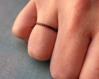 Blackened Notched Copper Ring - size 5.25