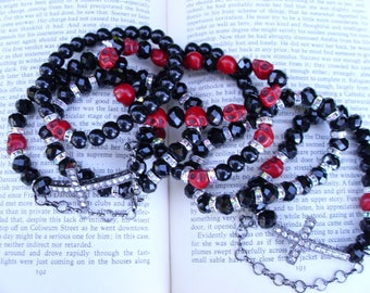 Past Forever Collection set 5 stackable black with red skulls and cross charm bracelets