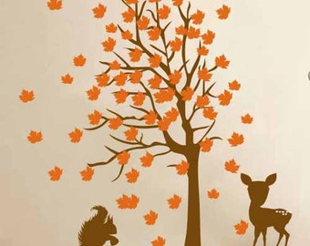 Childrens Wall Decals, Deer and Squirrel Tree - Nursery Kids Removable Wall Vinyl