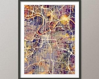 Kansas City Map, Kansas City Missouri City Map, Art Print (2952)