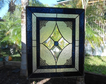 Vintage Look Stained Glass Window Panel, Textured & Beveled Glass Art, Traditional Stained Glass Transom Window, Unique Window Valance
