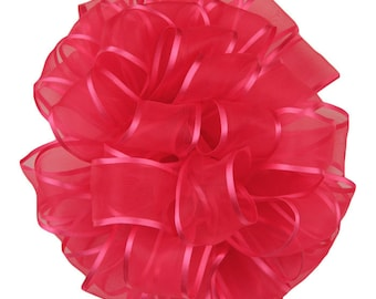 "Hot Pink Wired Ribbon, 1 1/2"", Sheer with Satin Edge - THREE YARDS - Offray ""Arabesque #200"" Shocking Pink, Wire Edged Ribbon"