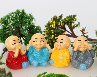 4 Pc Monks Colorful Miniature Garden Plants Terrarium Doll House Ornament Fairy Decoration MC0517