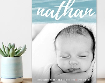 atercolor birth announcement, Baby boy announcement, Baby girl announcement, modern digital birth announcement, printable baby announcement