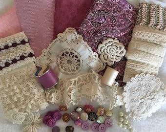 Victorian Lavender Paisley Inspiration Kit Vintage Trims