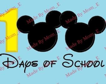 Mr Mouse 100 Days of School Applique