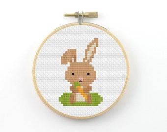 Bunny cross stitch pattern, rabbit cross stitch, cute bunny pdf pattern, modern cross stitch, cute cross stitch, easy cross stitch
