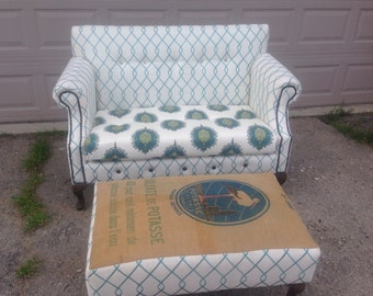 Custom Handmade Settee Loveseat with Vintage French Grain Sack Ottoman