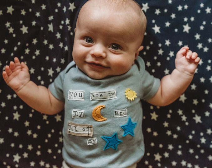"""Swanky Shank """"You Are My Sun and Moon and All of My Stars"""" Hand-Dyed Bodysuit or Tee"""