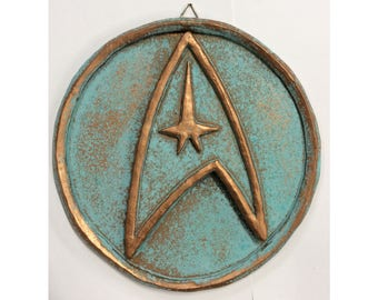 "StarTrek Enterprise Wall Display (Aged)- Logo/Insignia - 8"" (20cm)"