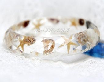 Terrarium bracelet Beach jewelry Beach bracelet Mermaid jewelry Seashell jewelry Resin bracelet seashell Summertime bracelet Bangle resin