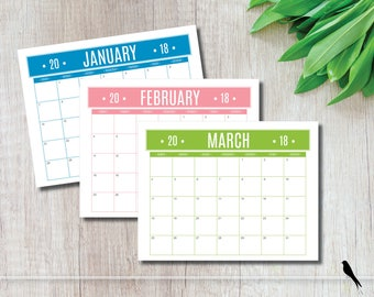 2018 Printable Wall Calendar - Fun Casual Color Banner Monthly Wall Calendar and Family Planner - Instant Download