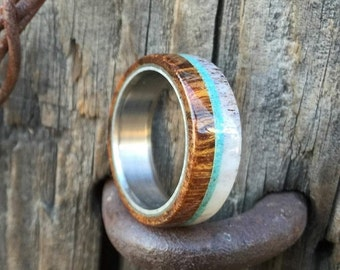 "The ""Banner"" - Wood Wedding Ring for Men with Antler & Turquoise - Staghead Designs"