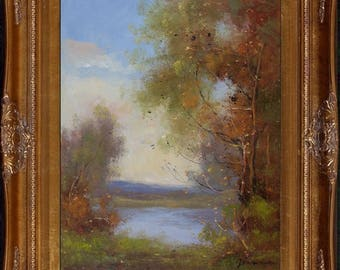Jean.Reneau Signed Countryside Lake View Scenery Framed Oil Painting On Canvas