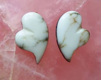 White Howlite Heart Cabochon Pair/ backed/Mojave