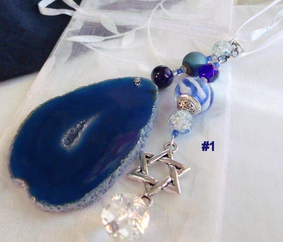 Judaic Wine bottle decor - Sun catcher - Jewish hostess gift - teal geode slice - bottleneck  - Star of David charm -  customize w letter