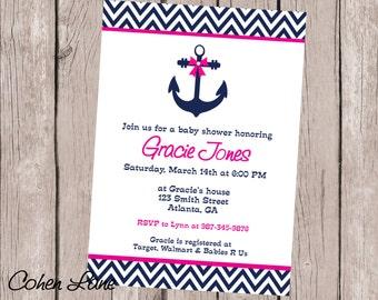 Anchor Invitation, Nautical Invitation, Anchor Birthday Invitation, Anchor Baby Shower Invitation, Anchor Invite, Nautical Invite, Printable