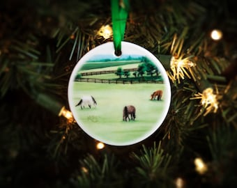 Horse Ornament Christmas ~ Porcelain Holiday Gift for the Horse Lover ~ FREE SHIPPING