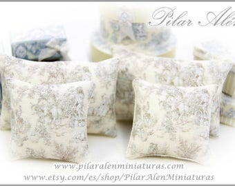 Pillow for dollhouse, pastel yellow toile Jouy design. 12th scale pillows. One Inch.