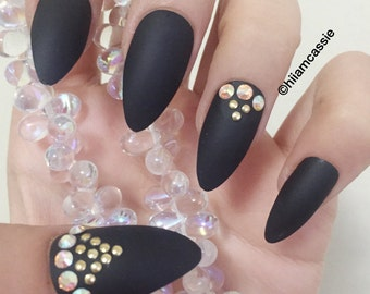 Items Similar To Black And Tan Fake Nails Faux Glue On