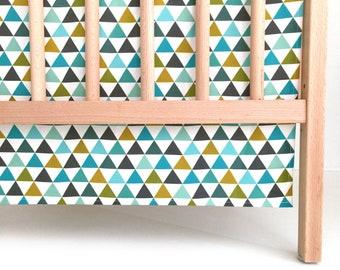 Crib Skirt Northern Lights. Baby Bedding. Crib Bedding. Crib Skirt Boy. Baby Boy Nursery. Triangle Crib Skirt. Teal Crib Skirt.