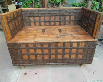 Chest bench Chest of solid precious wood antique