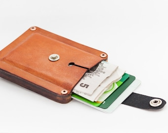 Pop up wooden wallet with leather wallet coin holder. Slim wallet, minimalist wallet - perfect personalised gift for men.