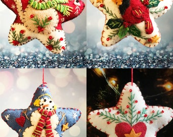 Christmas cat/bird/snowman/heart star Handcrafted felt Christmas tree decoration / felt hanging ornament felt / Christmas ornament / gift